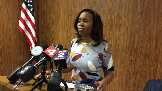 Detroit City Clerk Janice Winfrey speaks with the media on Friday, Jan. 27, 2017 at the city's elections division offices.