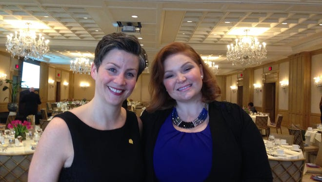 Blythe Spitzbergen, CEO and president of CARE House of Oakland County, and Ashley Rhodes-Courter, expert on foster care issues, met prior to Rhodes-Courter's presentation at the CARE House Circle of Friends fundraising luncheon at the Townsend Hotel.