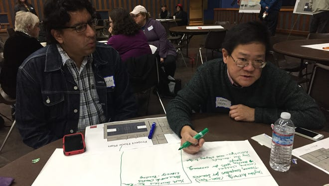 Left, Ernesto Altamirano and Dexter Farm brainstorm potential activities for the new recreation center set to open summer 2017