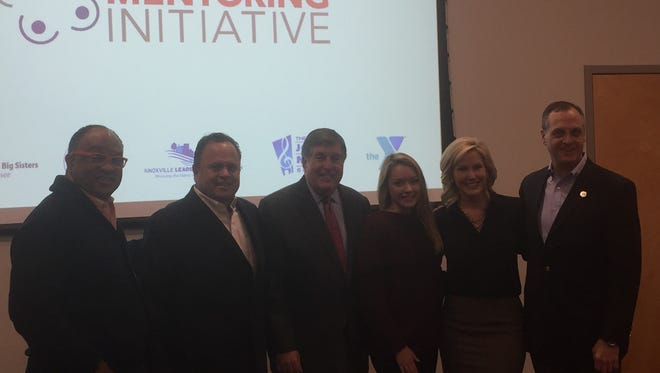 Speakers at Friday's launch of the Knoxville Area Mentoring Initiative line up after the event. Left to right: Hallerin Hill, Dave Serrano, Bob Kesling, Emily Ann Roberts, Kristin Farley and Chris Martin.