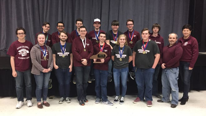Henderson County finished first overall at the District 9 Governor's Cup competition Saturday at Henderson County High School. Pictured, from left are: Front Row: Wil Kyle, Belle Townsend, Andrew Sauls, Coach Brian Sullivan, Harrison Jenkins, Riley Lovell, DJ Banks, Assistant Coach Edward Clouse, Assistant Coach Sarah Hardy. Back Row: Alex Chandler, Zachary Beickman, Will Hardy, Isaac Oettle, Austin Meredith, Cole Privette and Logain North.