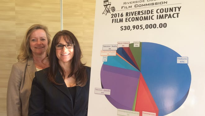"""Bettina Breckenfeld on left and Stephanie Stethem on right, with the Riverside County Film Commission, at the Palm Springs Women in Film and Television annual """"State of the Industry"""" meeting. (Jan. 31, 2017)"""