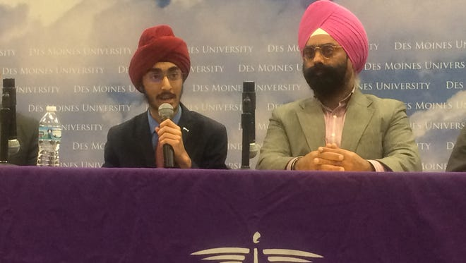 J.J. Kapur, a junior at Valley High School (left), talks about being Sikh and the discrimination he and other people endure. Right: Baljit Singh Virdi, a leader in the local Sikh community.