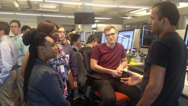 Students working at Humana through the Mayor's SummerWorks program toured the company's Digital Experience Center in June, 2016.