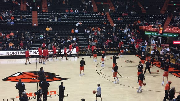 Pregame: Oregon State vs. No. 5 Arizona at Gill Coliseum, Feb. 2, 2017.