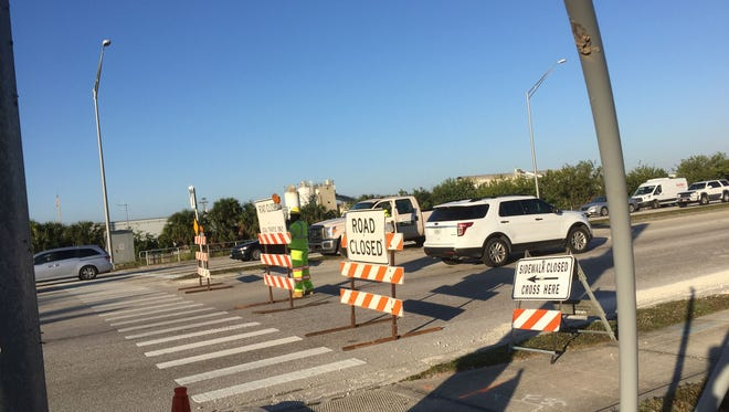 A portion of U.S. 1 in Melbourne will be shut down through Tuesday as part on an ongoing resurfacing project