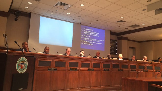 The Jackson City Council meets to discuss Tuesday's agenda at their monthly meeting at City Hall.