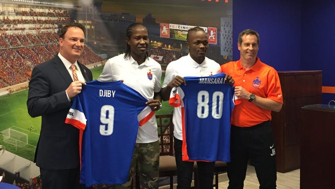 """FC Cincinnati introduced Monday at its Downtown offices 6-foot-2 Senegalese international forward Baye """"Djiby"""" Fall. The club also introduced Victor Mansaray, whose one-year loan deal from Seattle Sounders FC was announced last week."""