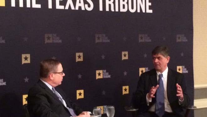 "U.S. Rep. Filemon Vela is interviewed by Texas Tribune's Evan Smith in Austin on Feb. 13, 2017. Vela called last week's actions by federal authorities ""the beginnings of a mass deportation effort."""