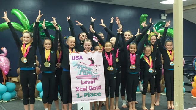 Christi's gymnasts took first place in the Xcel Gold team competition at the Flamingo Fling Invite.
