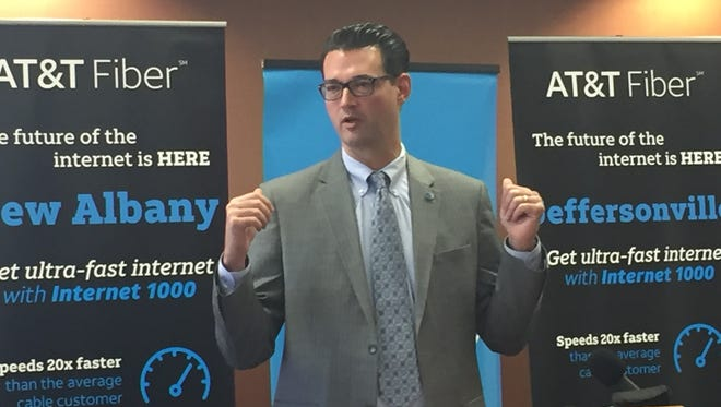AT&T Indiana President Bill Soards speaks at One Southern Indiana on Friday, Feb. 17, 2017.