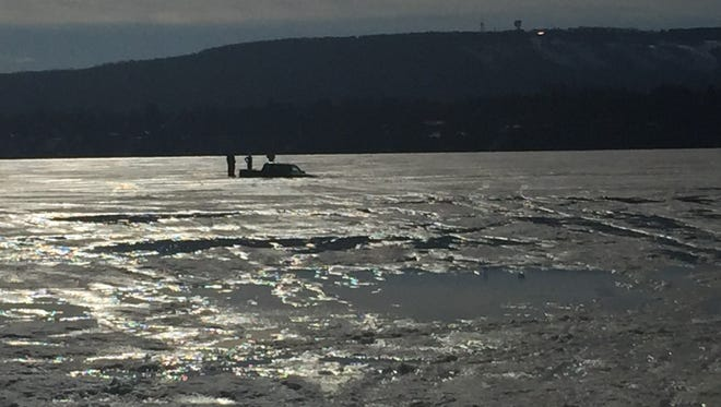 A truck fell through the ice on the Wisconsin River Saturday afternoon.