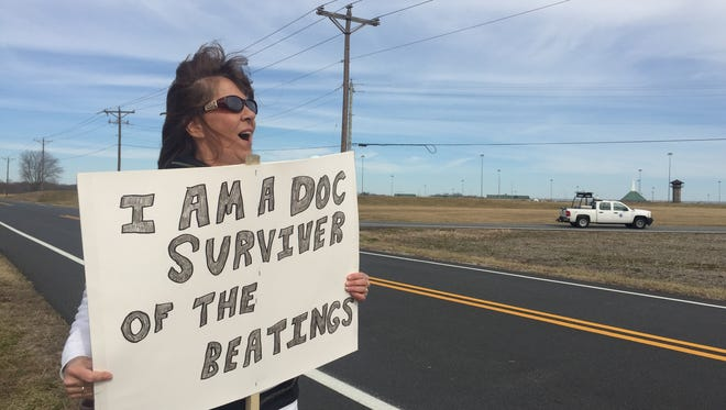 Connie Runyon, the mother of an inmate at the James T. Vaughn Correctional Center, protested outside the facility on Saturday to advocate for better treatment of those incarcerated.