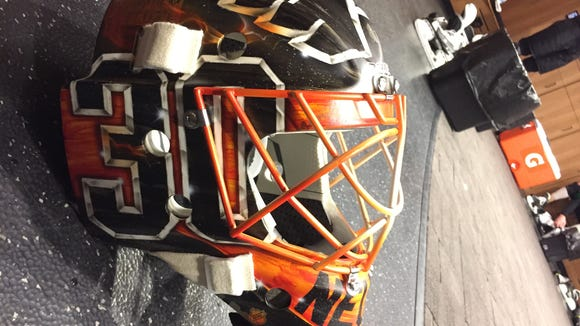 Here's the mask Michal Neuvirth will wear in Saturday's outdoor game in Pittsburgh.