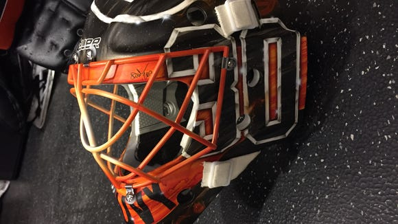 A look at Michal Neuvirth's mask that he'll wear in Saturday's game at Heinz Field in Pittsburgh.