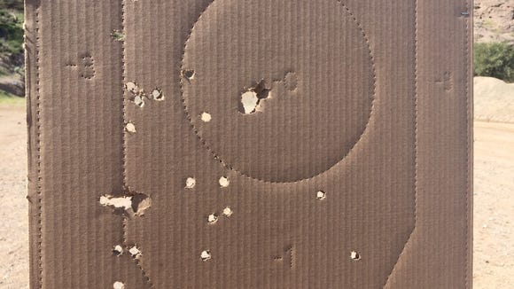 A cardboard target on the shooting range at Cowtown.