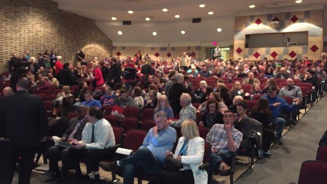 A crowd gathers at a Muncie Community Schools board meeting on Feb. 28.