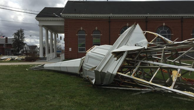 The steeple from First Baptist Church of Walton on U.S. 25 in southern Boone County was blown off by morning storms.