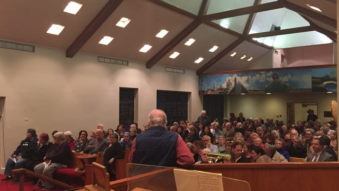A packed Luther Memorial Church on Thursday where residents gathered for a solidarity event, focused on gathering after a recent bomb threat forced the evacuation of the York Jewish Community Center.