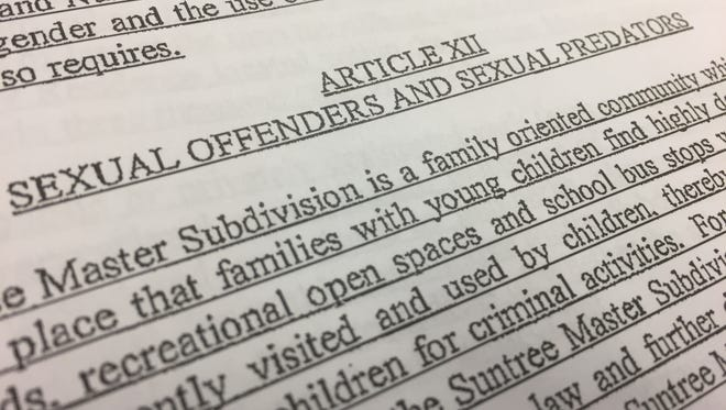 Suntree is looking to ban sexual offenders and sexual predators from living in the planned housing development.