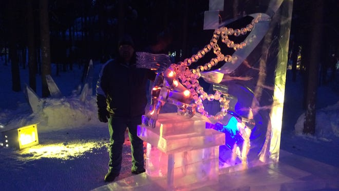 Brian McKinney of Great Falls and his ice artist partner Jeff Kaiser of Pennsylvania took 8th place in the abstract division of the world ice carving competition, Ice Alaska, in Fairbanks, Alaska.