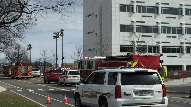 Firefighters extinguished a fire on the fourth floor of Weill Hall at Cornell University.