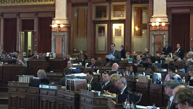 Rep. Ken Rizer, R-Cedar Rapids, delivers closing comments on a bill that would make changes to Iowa's voter identification laws.