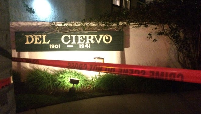 This was the scene Friday night as Oxnard police investigated the death of a man whose body was found in an apartment complex laundry room.