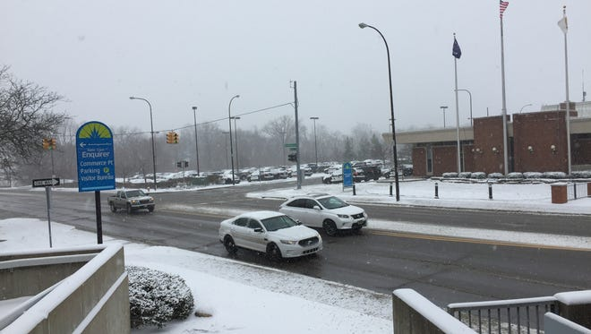 The snowy scene in downtown Battle Creek on Monday morning.