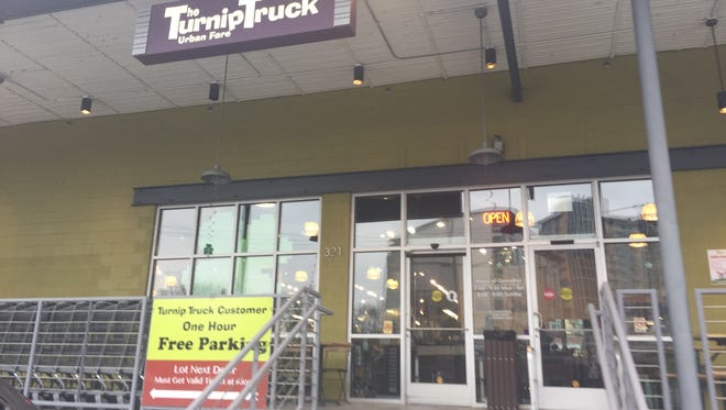 The entrance to The Turnip Truck in the Nashville Gulch, Tuesday, March 14, 2017.