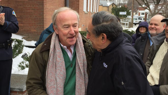 Rep. Rodney Frelinghuysen greets former mayor and current Councilman Cyril Wekilsky at the Boonton 150th birthday celebration at Town Hall on March 18, 2017.