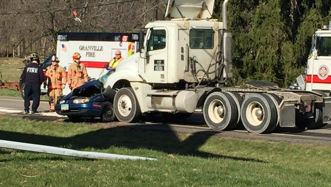 One person is dead after a car was struck by a bobtail truck in McKean Township Wednesday afternoon.
