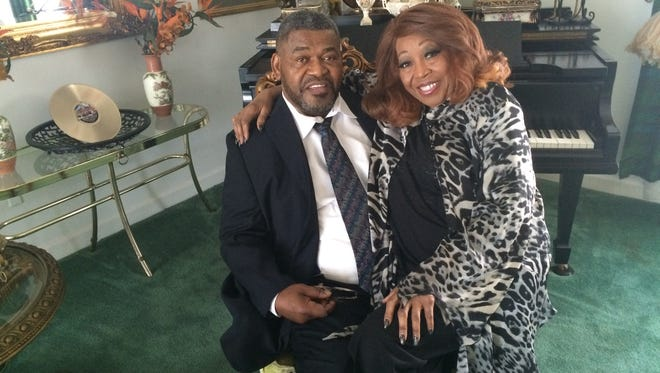 'Queen of the Blues' Denise LaSalle sits with her husband former DJ James 'Super' Wolfe in this March 2017 file photo.