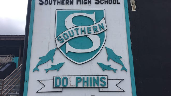 Southern High School's sign is shown in this March 24 file photo.