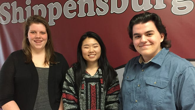 Shippensburg Area Senior High School students, from left, Erin Lee, Mary Lee and Brandon Caudill are taking advantage of a  program called Ship Shares in which local high school students can take college courses at Shippensburg University.