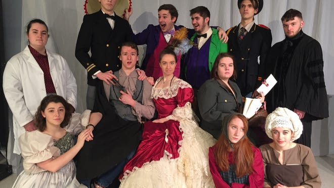"""The cast of """"The Government Inspector,"""" to be presented at April 6 to 9 at Plymouth High School."""