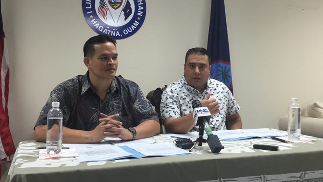 Sens. Tommy Morrison and Fernando Esteves during a press conference at Morrison's Hagåtña office on April 4, 2017 to discuss their bills for a part-time legislature.