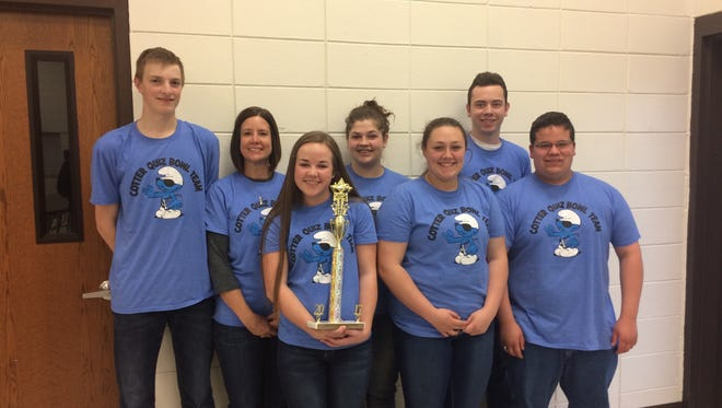 Cotter recently won first place at 2A Regional Quiz Bowl Tournament. They went undefeated on the day. Team members are, front row: Samantha Hodges, Kaycie Beard and Gabe Gilley. Back row: Trenton Tardiff, Coach Monica Springfield, Willow Poynter and Dalton Orsborn. Cotter had three All-Tournament Players, Poynter, Gilley and Tardiff.