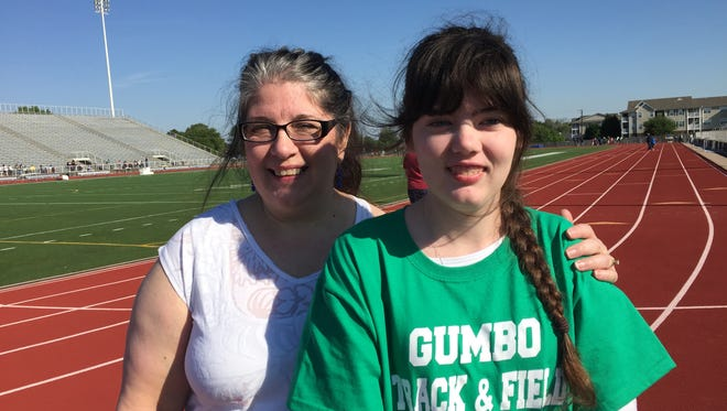 Danielle and Rhiannon Dykes pause at Friday's GUMBO Games at Lee Hedges Stadium.