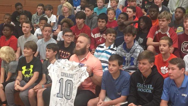 Former Clemson linebacker Ben Boulware visited R.C. Edwards Middle School on Tuesday.