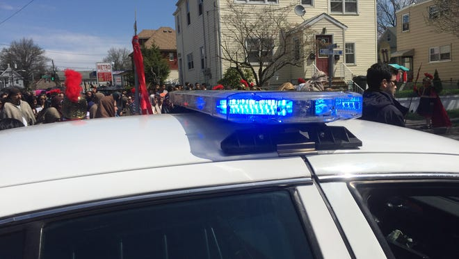The lights of a Belleville police car.