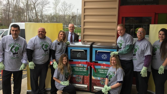 """Staff at ShopRite of Greater Morristown in Hanover unveiled new Bigbelly-brand """"smart"""" trash and recycling bins in recognition of Earth Day, on Thursday, April 20, 2017."""