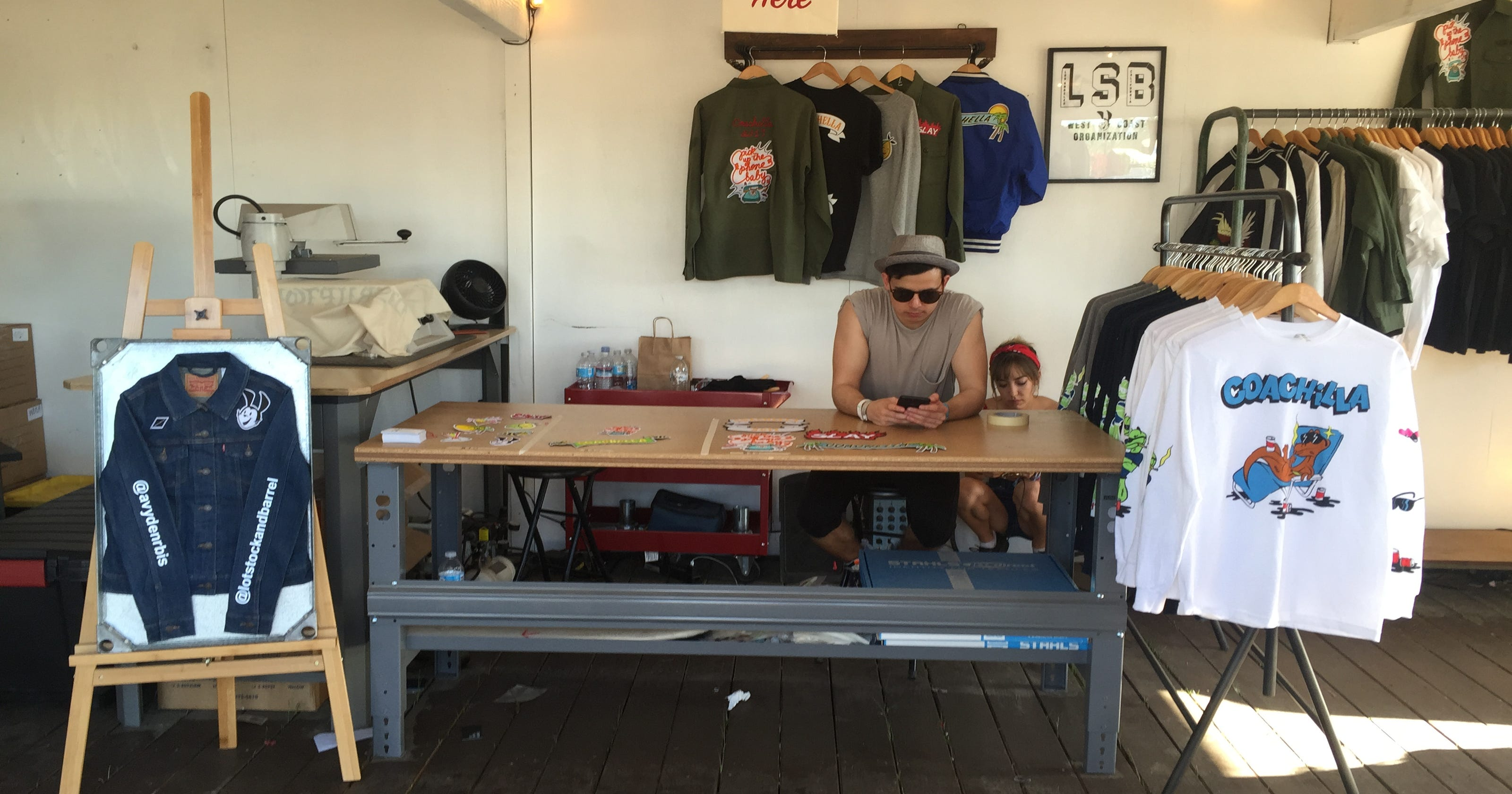 cb418cbde183c5 Festival-goers customize Coachella swag at pop-up shop