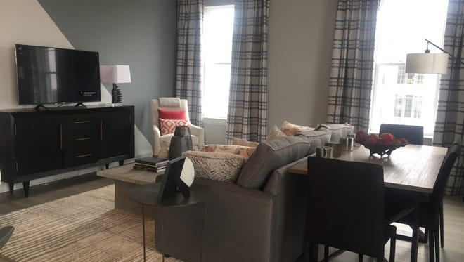The living room of a two-bedroom apartment at Haddon Towne Center.