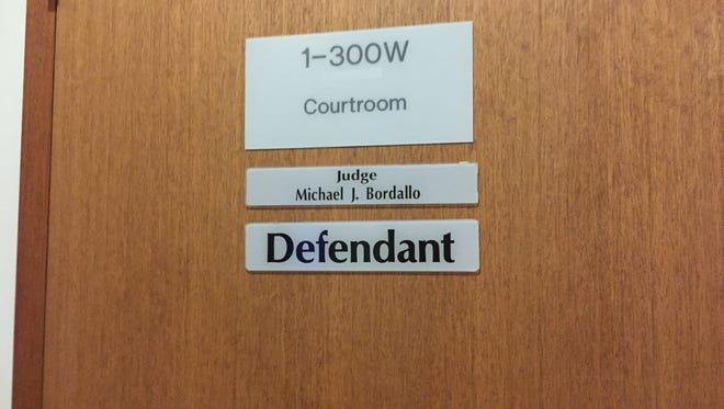Judge Michael Bordallo courtroom entrance for defendants.
