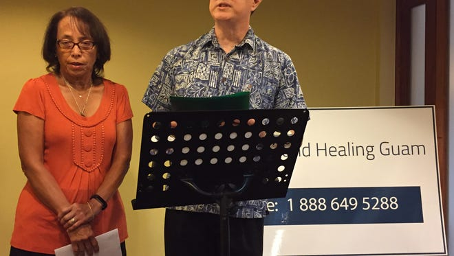 Andrew Camacho, the newly named president of Hope and Healing Guam, addresses the media Tuesday afternoon at Hilton Guam Resort & Spa, while vice president and secretary Julie Perez-Bollinger looks on. Joe Santos, currently on Tinian,  is named treasurer.