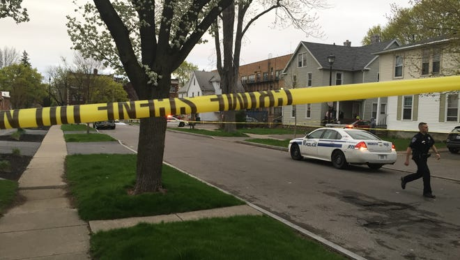 Rochester police on scene of a fatal shooting on Flanders Street on Tuesday evening.