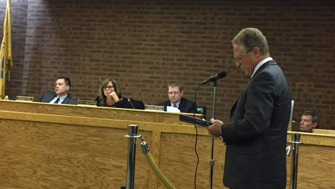 Auditor Ray Sarinelli discusses the 2017 proposed Rockaway Township budget at a township council meeting on April 26, 2017. From left are council members Michael Puzio, Patricia Abrahamsen and Jeremy Jedynak.