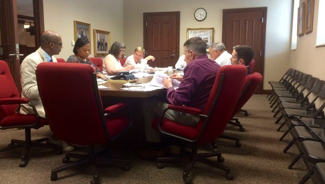 The City of Jackson Budget Review Committee discussing  the budget for the 2017-18 fiscal year.