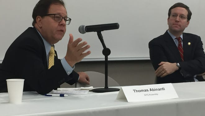 Assemblyman Tom Abinanti speaks to business leaders at a Town Hall at Pace University while Assemblyman David Buchwald looks on. The event was hosted by the Westchester County Association, April 28, 2017.